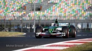Klass Zwart tente de battre le record de la piste en Formule Un Jaguar R5 ex Mark Webber lors du Grand Prix de France Historique - Circuit automobile classique - Circuit Nevers Magny-Cours 28 au 30 juin 2019 - Magny-Cours, France